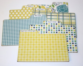 Divider Cards, Set of 6, Teal Navy Green and Yellow Tabs, 4x6 Recipe Divider Cards, Made of Laminate