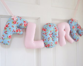 FLORA - Personalized Baby name wall hanging, kids nursery decor. New baby girl Christening gift, baby shower gift.  Baby 1st birthday gift.