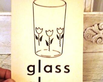 Vintage Alphabet Flash Card - Letter       G for Glass 1950s Illustrated School Flash Card
