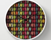 XOXO Wall Clock - XOXO Multicolor Wall Clock - Black Ombre - Original Design - Home decor by Adidit