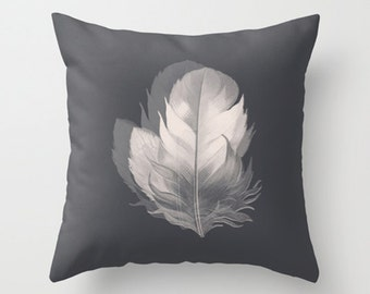 Throw Pillow Cover - Gray Feather in Two Designs - Gray Cream White - 16x16, 18x18, 20x20 - Pillow case Original Design Home Décor by Adidit