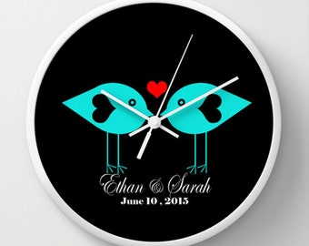 Wedding Wall Clock - Love Birds Heart Wedding Names and Date Wall Clock - Black White Blue Red - Original Design - Home decor by Adidit