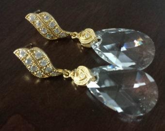 Clear Swarovski, Crystal Earrings, Gold Earrings, Post Earwire, Crystal, Bridal Wedding Jewelry