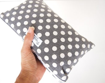 Medium Zippered Wet Bag Pouch / Nappy Wallet / Makeup Bag  - Black and White Polka Dot