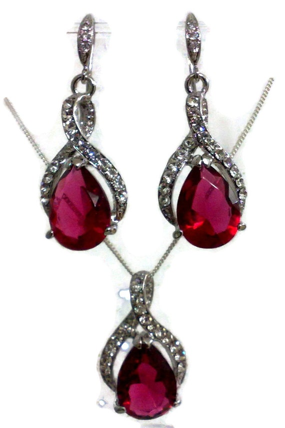 Pink bridal jewelry set fuchsia bridesmaid earrings teardrop for Pink wedding jewelry sets