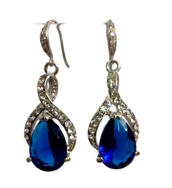 Something Blue Bridal Earrings, Sapphire Cubic Zirconia Jewelry, Bridesmaid Earrings, Teardrop Jewelry, Swarovski Jewelry, TWIRL