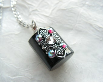 Black Crystal And Silver Perfume Or Essential Oil Bottle Necklace