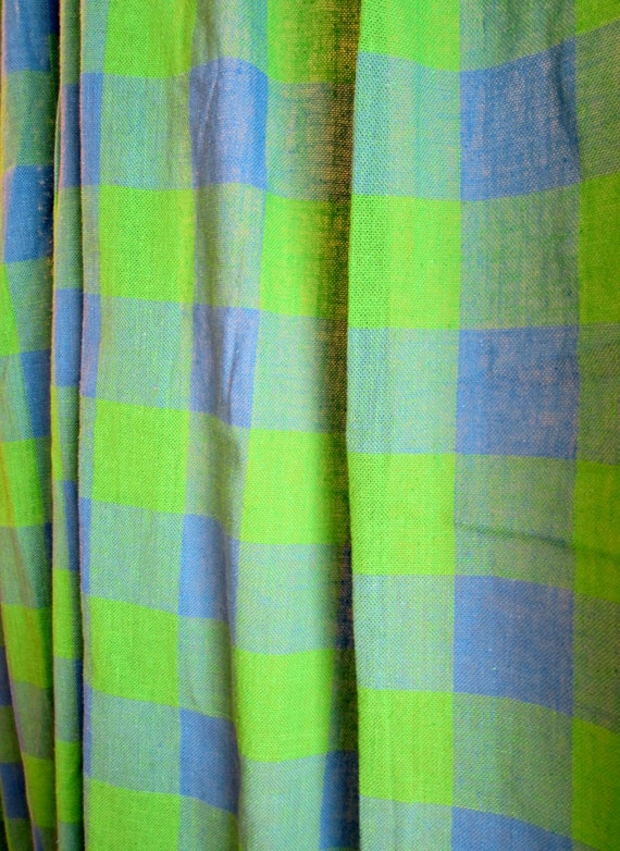 Mid Century Curtains Plaid Periwinkle And Lime 48 X