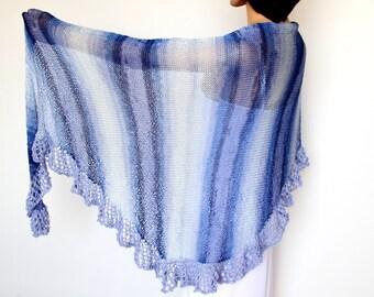 Blue wrap shawl, knit shawl, Bridesmaid shawl Wedding shawl,