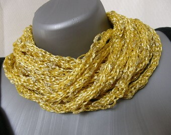 Yellow Gold Knitted I-Cord Scarf  Necklace Cowl, Circle Scarf ,Infinity Scarf