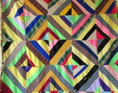 Colorful STRIP BLOCK Vintage Quilt- Full of POLYESTER Knits and Wool Blends