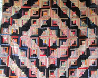 Spectacular Antique LOG CABIN BLOCK Vintage Quilt Stunning Fabrics Excellent