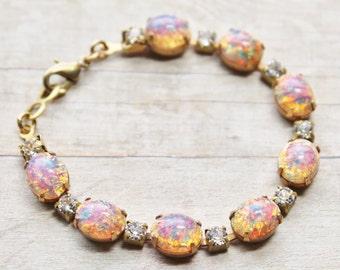 Vintage Fire Opal Bracelet,Harlequin Opal,Opal Bracelet,Opal Jewelry,Pink Fire Opal,Rhinestone Tennis Bracelet,UNIQUE Chain,Hand Made