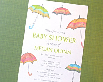 Baby Shower Invitations, Umbrella Baby Shower Invitations, 10-Count