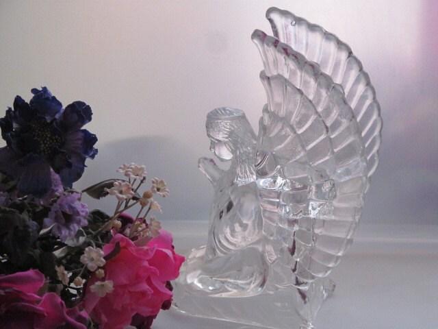 Vintage Crystal Glass Angel Candle Holder