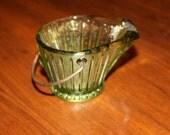 Vintage Green Depression Glass Salt Cellar Ashtray Toothpick Glassware Novelty Dish Metal Handle