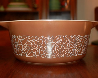 Vintage Pyrex Brown Bowl Woodland Casserole Cinderella Bowl Kitchen Serving Mixing Bowl Housewares 1960s
