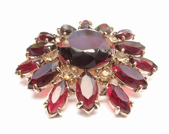 Antique Monet red crystal brooch pin, yellow rhinestone brooch, red flower brooch, antique jewelry, antique brooch, red wedding gift