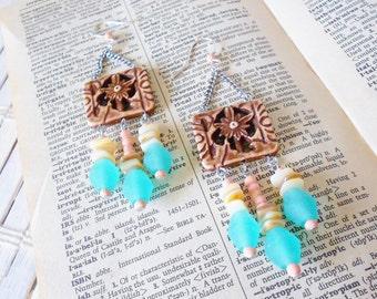 Summertime Chandelier Earrings, Beach Style, Beaded fringe, Seafoam Brown Cream, Long earrings, Casual