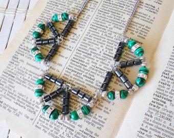 Art Deco Scallops Necklace, Black Green Silver & Rhinestones, Small Statement necklace