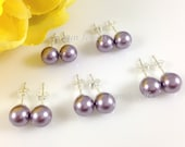 Set of 7 Pairs Lavender Bridesmaids Pearl Earrings - Bridal Pearl Post Stud Earrings Mauve Swarovski Pearls 8mm Lilac FlowerGirl