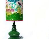 Emerald Green Ceramic Lamp, OOAK  RESERVED for Megan