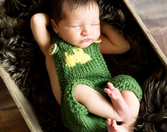 Tractor Overalls Knitting Pattern - All Sizes Newborn Baby through 1-2 Year Toddler Included - Instant Digital Download