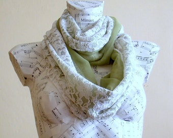 Handmade lace chiffon loop scarf, Woman spring accessory summer fashion infinity scarf spring fashion lightweight scarf green chiffon scarf