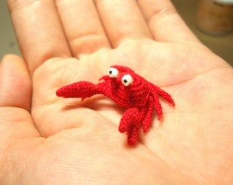 Miniature Red Crab - Tiny Crochet Amigurumi Stuffed Animal - Made To Order