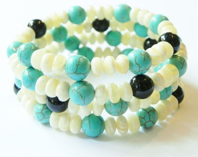 Memory wire wrap cuff style bracelet with yellow aragonite, black onyx & turquoise, gemstone bracelet