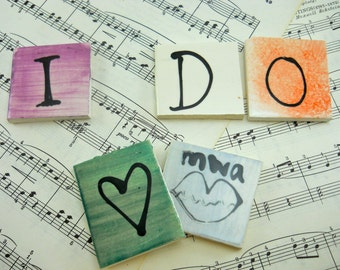 "Letter tiles ""I DO"" with a heart and a kiss, set of 5 tiles for a mosaic or to leave anywhere your honey will see it, 2 x 2 in, hand painted"