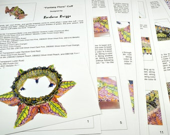 "Tutorial for the ""Fantasy Flora"" Cuff (inspired by contemporarygeometricbeadwork.com)"