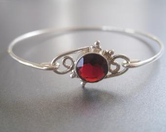 GARNET SUN FACETED gemstone bangle bracelet