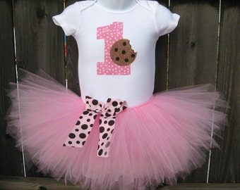 First Birthday Cookie Tutu Set and Matching Headband | Pink Polka Dot First Birthday Tutu Set | Other Colors Available