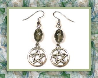 Up-in-Smoke Wiccan Pentagram Earrings (Clip-On by Request)