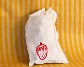 Silkscreened Strawberry Drawstring Bag