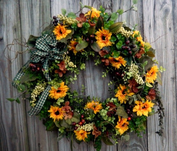 Reserved for Diane 1 Fall Wreath - Summer Wreath - Wreath For The Door - Boxwood And Sunflowers - Country Wreath