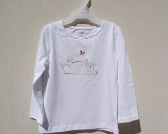 French Bulldog with butterfly girls long sleeved tee 2T