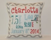 Personalized Birth Announcement Pillow