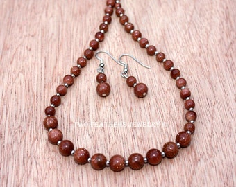 Goldstone Necklace - Goldstone Earrings - Goldstone Jewelry Set - Beaded Necklace - Graduated Necklace - Beaded Earrings - Copper Stone