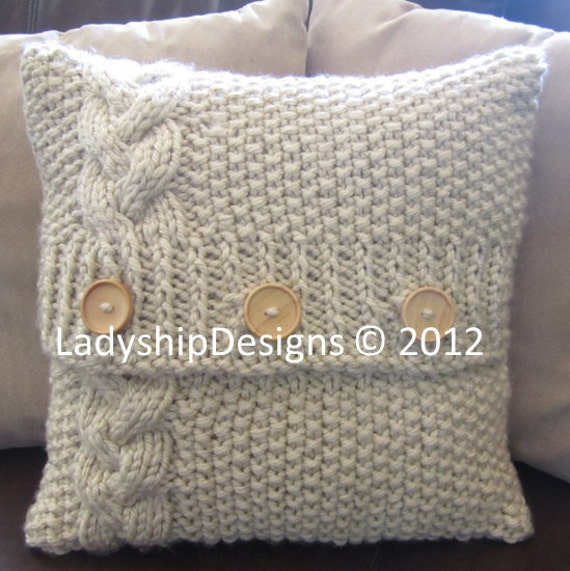 Cable knit pillow cover pattern, knit pattern pdf, Braided Cable super chunky...