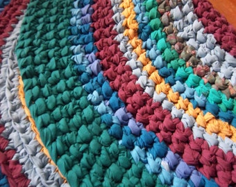 Colorful Crocheted Rag Rug 3 foot in Diameter