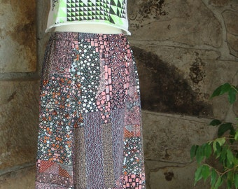 70s PSYCHEDELIC MIDI SKIRT vintage poly knit a-line op art print m
