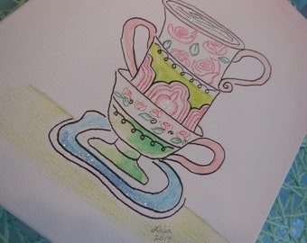 Art Sale - Watercolor Stacked Teacups Canvas Art  ~~ Girls Bedroom Playroom  * Pink, Lime Green, Emerald Green and Blue  ~~ Glitter Accent