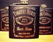 3 Groomsman Flask Set ~ With Free Custom Engraving ~ 6 oz Matte Black Stainless Steel Flask ~