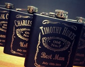 Eight Personalized Flasks for Groomsmen