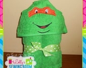 Turtle hooded towel - can be personalized