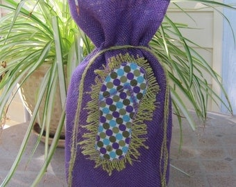 Flip Flop Polka Dot on Purple Burlap Applique Wine Bag Bottle Bag