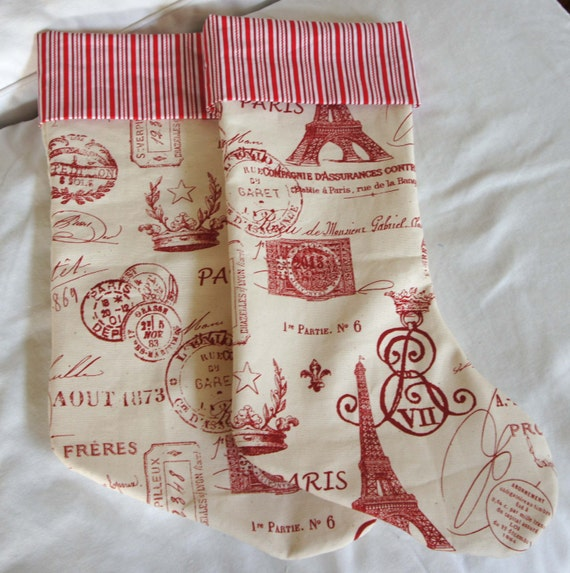 Christmas Stocking Pair ~ Red and White French Document Fabric