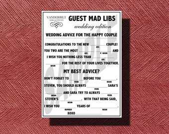 Monogramed Wedding Mad Libs, Guest Book Alternative Wedding Ad Libs, Printable Ad Libs for your Wedding or Special Event, Fun Guestbook